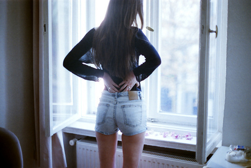 fashion, girl, hair, high waisted shorts, legs
