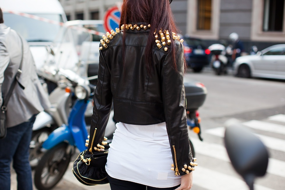 fashion, girl, jacket, leather jacket, studs