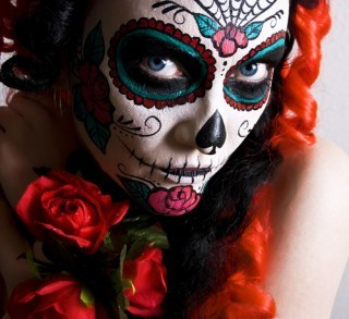 girl, hair, hot, make up, mexican skull, sexy