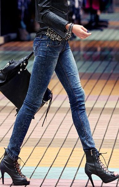 girl, heals, jeans, shoes, skinny