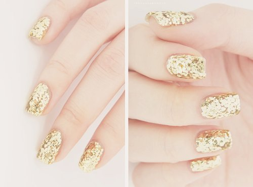 glitter, golden, nails