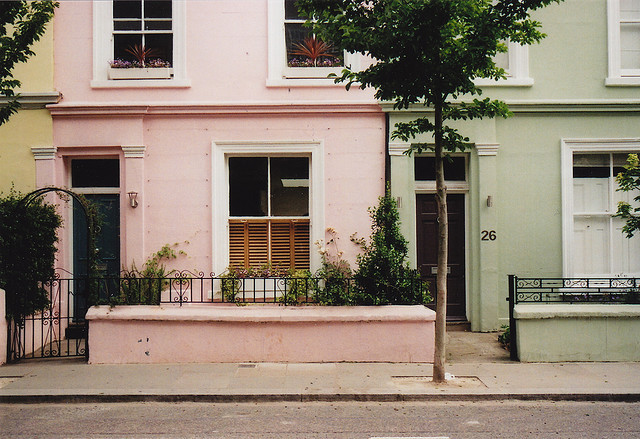 green, house, london, pastel colours, pink