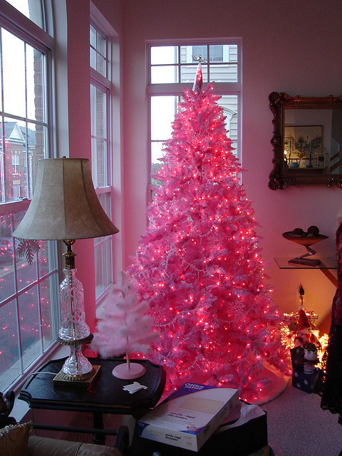 adorable, beautiful, christmas, christmas tree, home, house, interior, pink, pretty, view, white, window