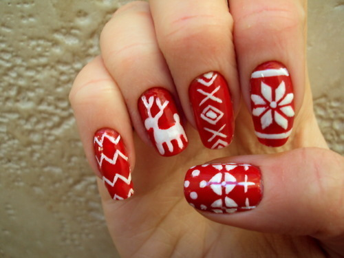 art, christmas, christmas sweater, cute, design, fashion, festive, girl, girly, holiday, nail art, nail lacquer, nails, red, reindeer, white