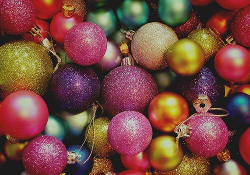 balls, bells, christmas, colorful, glitter