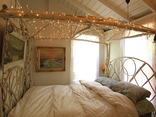 beautiful, bed, bedroom, christmas, country, decor, inspiration, lights, pretty, wood