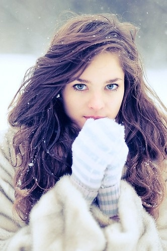 beautiful, blue, brunette, christmas, cold