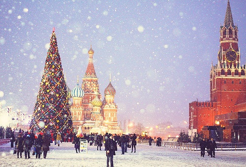 beautiful, christmas, christmas tree, kremlin, lights, red square, russia, snow, tree, winter