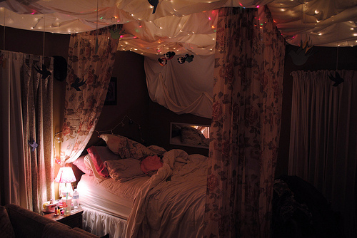 bedroom, christmas light, floral, photography, room
