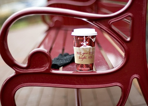 bench, christmas, coffee