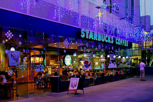 blue, christmas, coffee, drinks, food, holiday, holidays, lights, starbucks