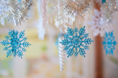 blue, christmas, decorations, snow, snowflake, white, winter