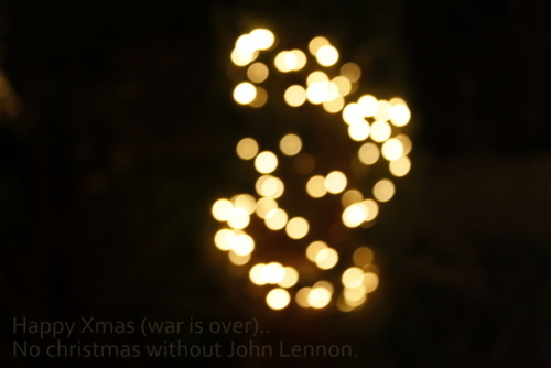 bokeh, christmas, happy xmas, john lennon, lights