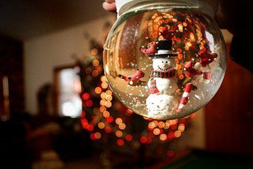 bokeh, christmas, snow globe, snowman, winter