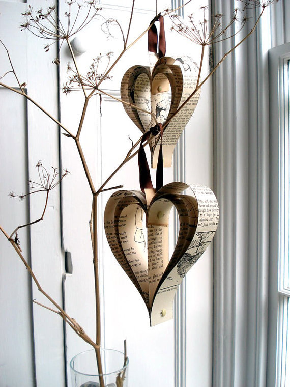 book, christmas, hanging decoration, holidays, paper hearts, vintage