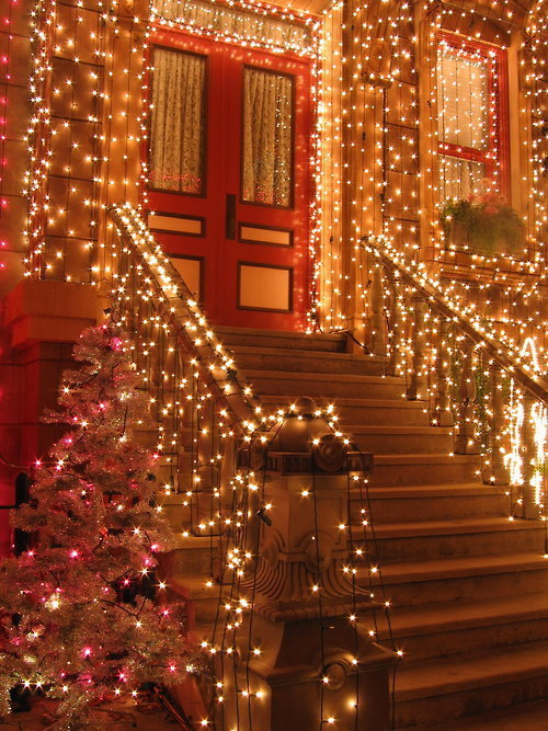 bright, christmas, christmas tree, door, fairy lights, festive, holidays, house, lights, photograph, photography, pretty, silver, steps, twinkle, xmas