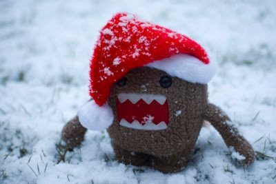 brown, christmas, domo, domo-kun, red, santa, snow, white