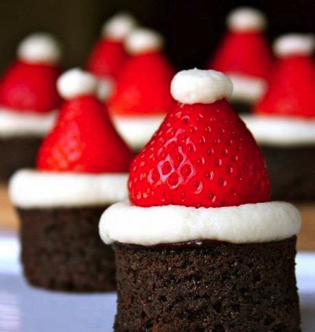 brownies, christmas, cute, food, santa
