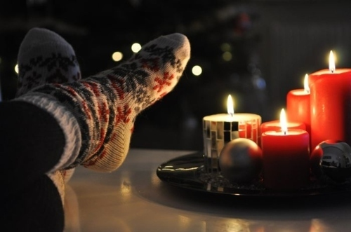 candle, christmas, cozy, feet, socks