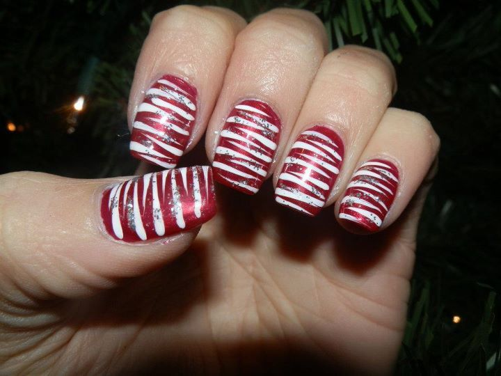 candy cane, christmas, glitter and nail art