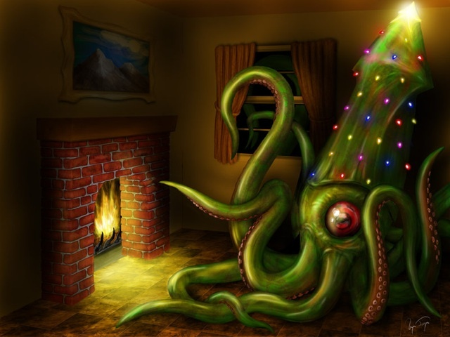 cephalopod, christmas, epic, fireplace, holiday