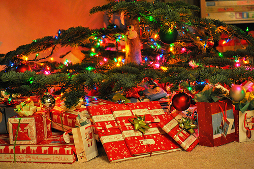 christmas, christmas tree, colorful, gifts, ornaments, presents