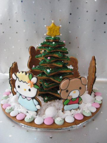 christmas, christmas tree, cookies, cute, food, gingerbread, hello kitty, kawaii, santa