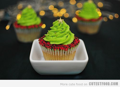 christmas, christmas tree, cupcake, cupcakes, cute, sweet