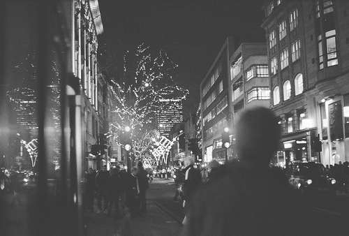 christmas, city, city lights, lights, night
