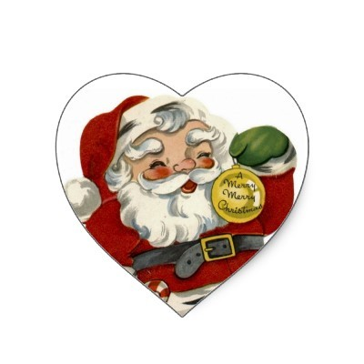 christmas, claus, heart, retro, santa