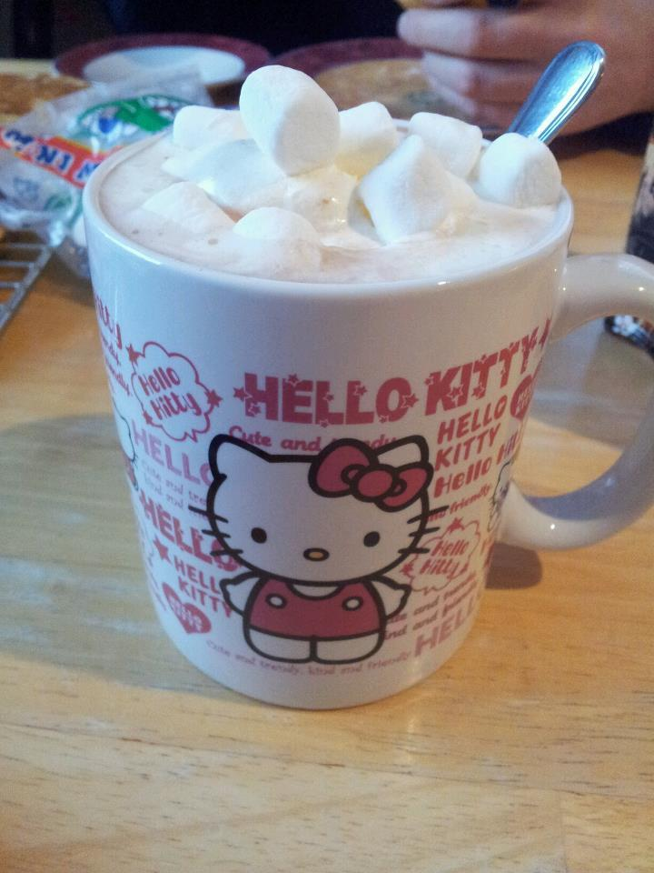 christmas, cocoa, cream, cute, hello kitty