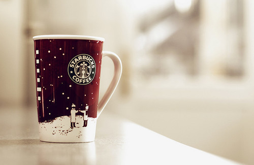 christmas, coffee, cold, mug, snow, starbucks