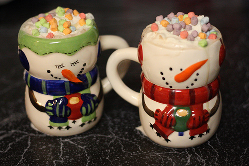 christmas, colorful, cup, cute, food, holiday, marshmellow, snow, snowman, winter