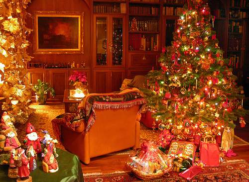christmas, cozy, home, house, presents