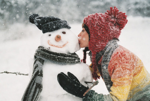 christmas, cute, girl, kiss, lovely