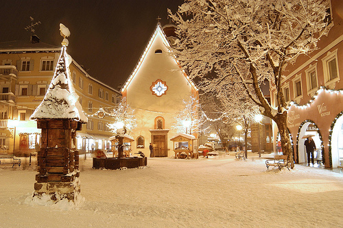 christmas, festive, lights, town, winter