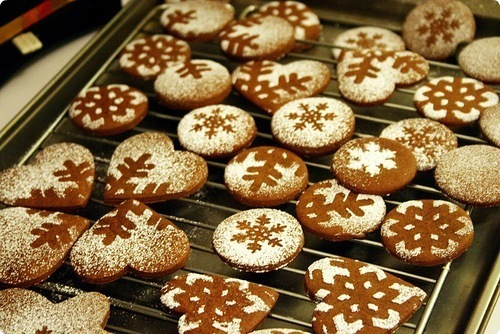 christmas, gingerbread cookies, snowflakes and winter