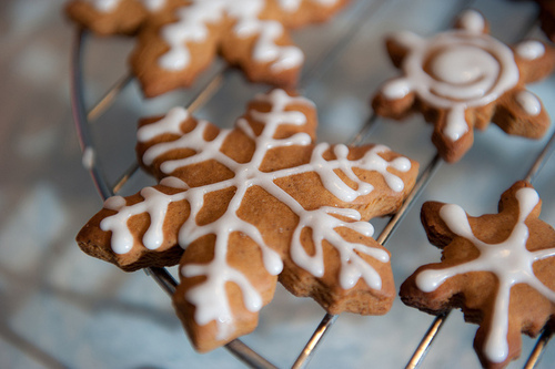 christmas, gingerbread, snowflake