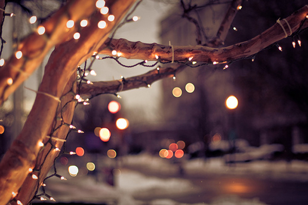 christmas, holiday, lights, snow, winter