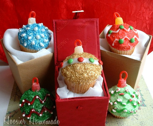 cupcake, glittery christmas, ornament