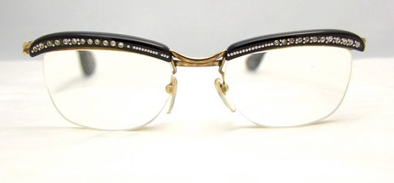 1950s, awesome, cateyes, clothing, etsy, etsy find, france, glasses, gold, house, love, rare, retro, rinestone, silly