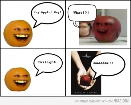 9gag, annoying orange, apple, funny, twilight