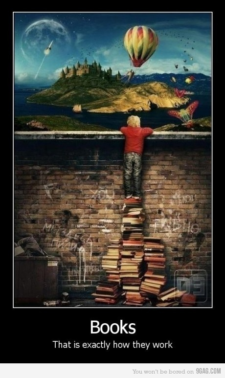 9gag, book, books, dream, imagine