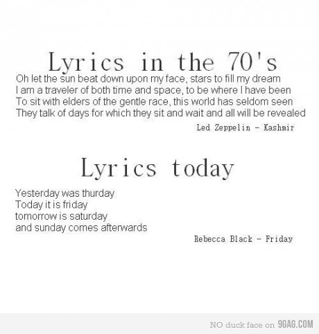 9gag, funny, haha, lyrics, music, rebecca black, text, today, true, typography