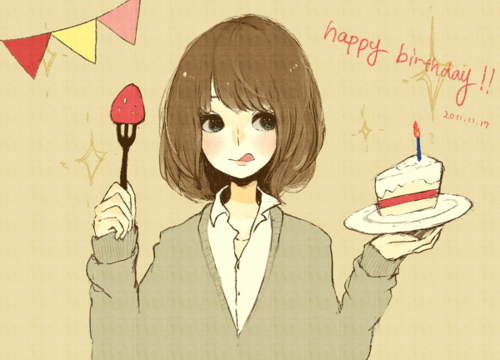adorable, amazing, anime, art, beautiful, cake, cute, draw, eyes, fashion, female, girl, hair, happy birthday, illustration, image, kawaii, perfect, short hair, style, sweet
