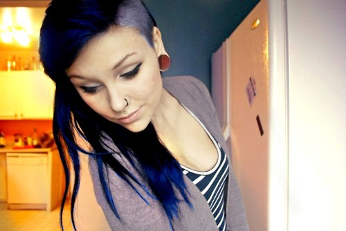 adorable, alternative, amazing, beautiful, blue, blue hair, cher lloyd, cher lloyd hair, close eyes, cute, dye hair, fashion, gauges, hair, image, nose, nose piercing, not cher, perfect, photo, photography, piercing, plug, reamer, style