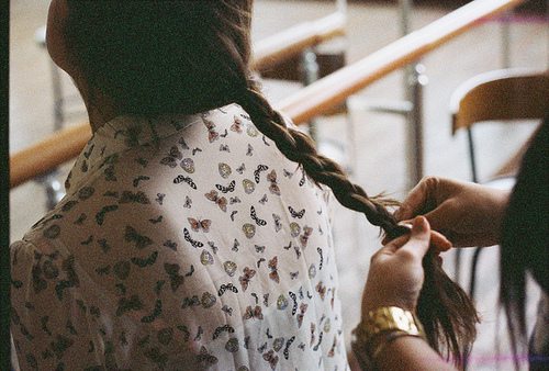 adorable, art, braid, butterflies, cute