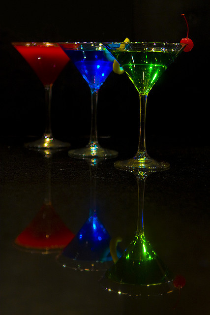 alcohol, beautiful, blue, cherry, cute, glass, green, martini, party, pretty, red