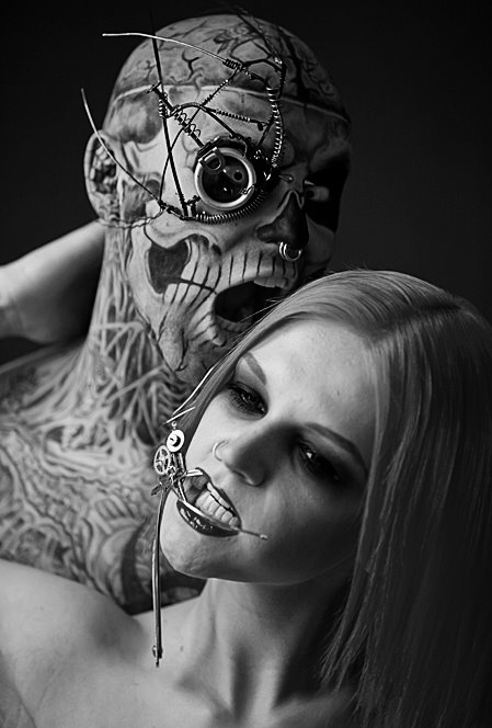 aleksandra wydrych, black and white, fashion, hot, ink, inked, model, rick genest, sexy, tattoo, tattoos, zombie boy