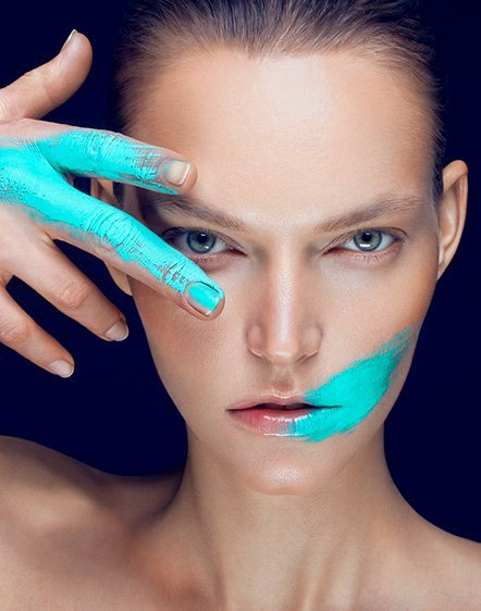 alex evans, art, blue, body art, face, fashion, make up, paint, photo, portrait